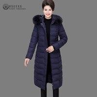 7XL 2019 Fur Collar Quilted Coat Long Winter Puffer Jacket Woman Parka Female Cotton Outwear Plus Size Warm Snow Wear Okd735