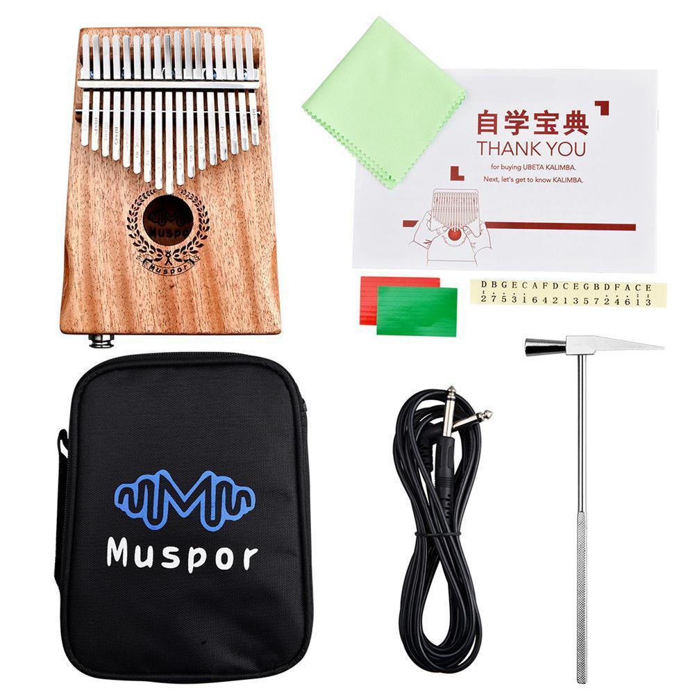 Muspor 17 Key EQ Kalimba Mbira Mahogany Wood Thumb Piano Finger Percussion Instrument With Bag + Tuner Harmmer + 3M Audio Cable