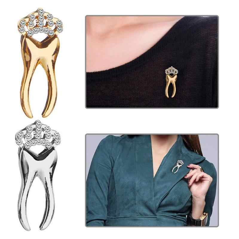 JOCESTYLE Cartoon Leuke Tand Metalen Broche Pins Button Pins Gift Goud Zilver kleur mooie Cartoon Revers Pin Knop Badges