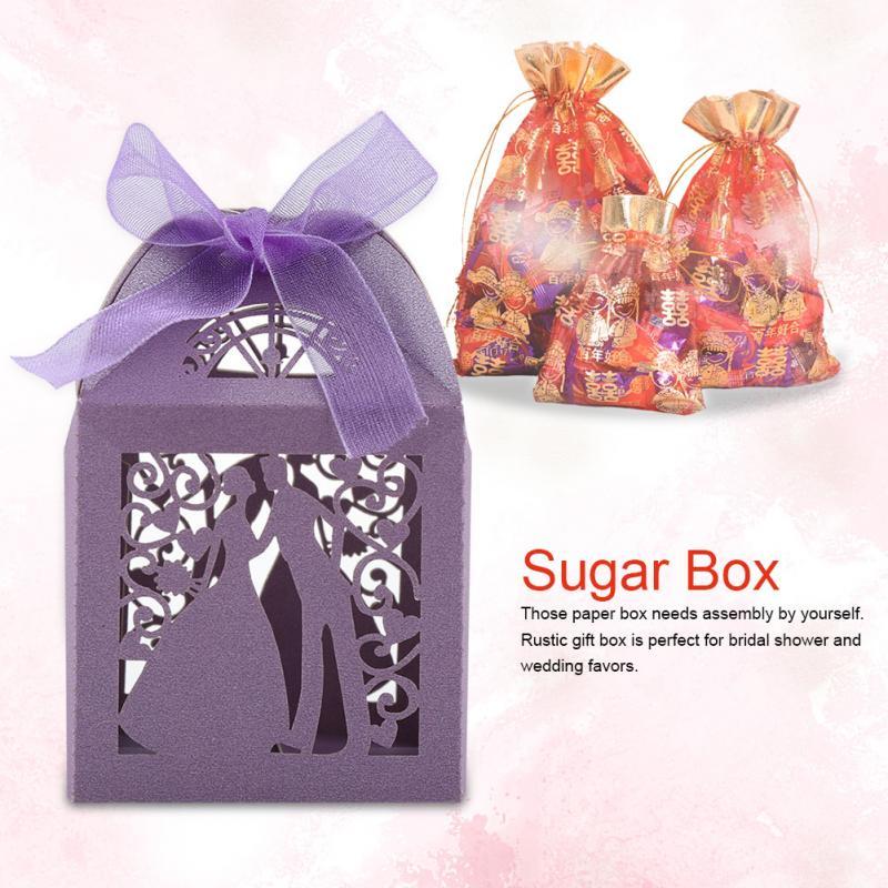 MotivéE 50 Pièces/ensemble Boîte De Bonbons De Mariage Coffrets Cadeaux Faveur De Mariage Boîtes De Chocolat De Sucre Décoration De Mariage Pour La Fête D'anniversaire De Mariage