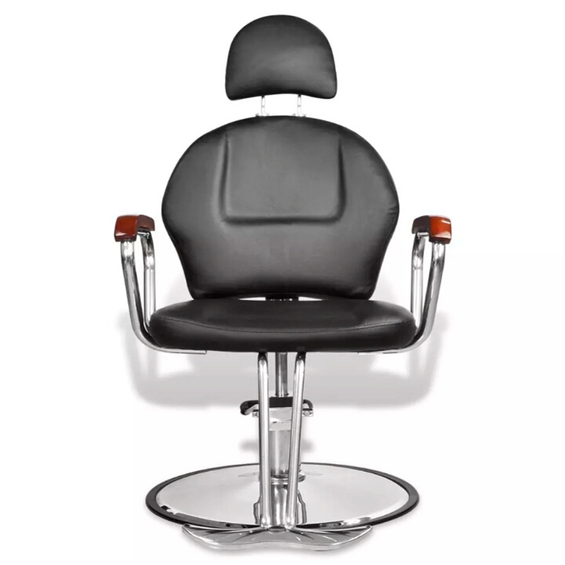 Black Leatherette Hairdressing Chair With Headrest Adjustable Height With Headrest And Footrest Comfortably Home Furniture
