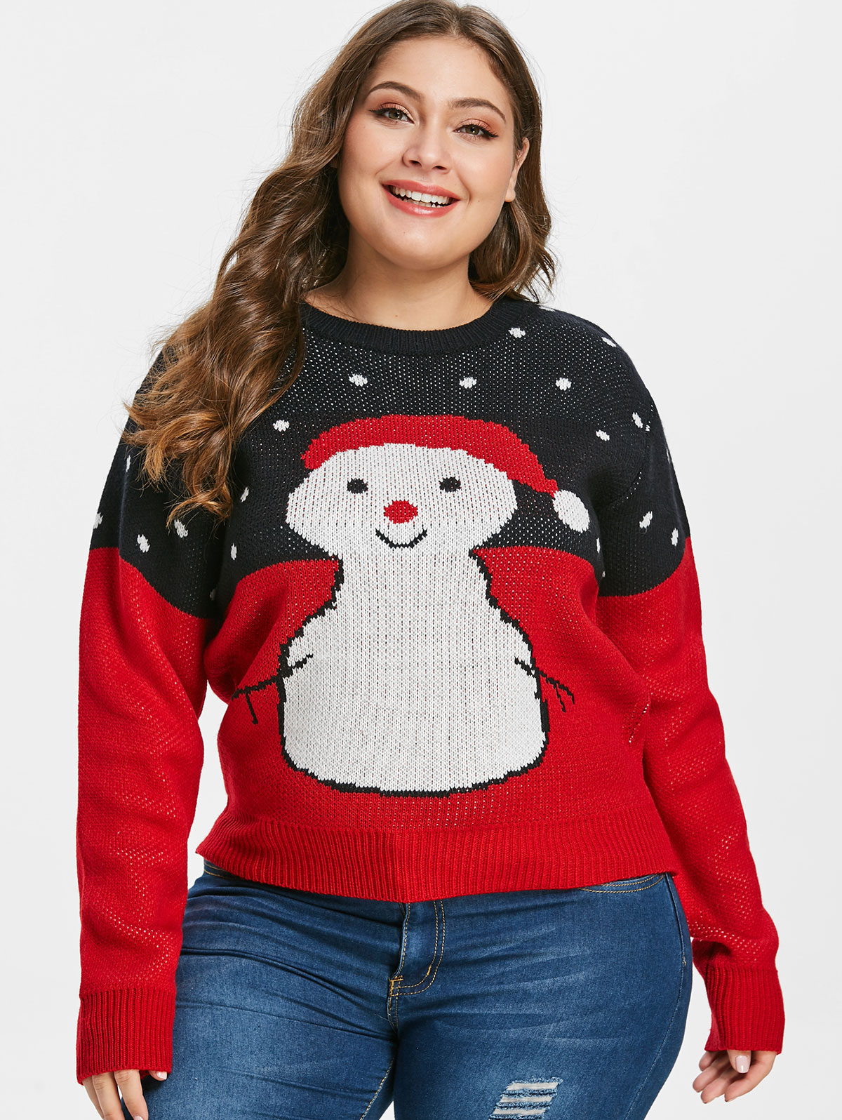 Plus Size Ugly Christmas Sweater.Us 14 81 48 Off Wipalo Women Plus Size Cartoon Snowman Print Ugly Christmas Sweater Drop Shoulder Loose Fit Casual Fall Winter Pullover Sweater In