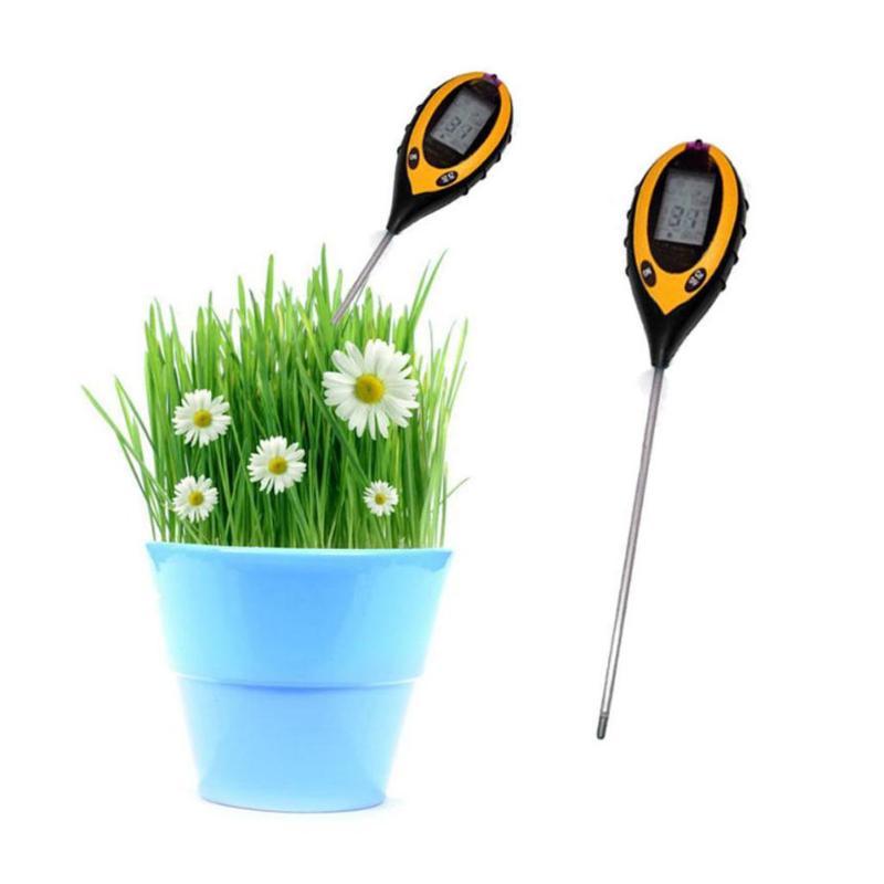 4in1 Professional Garden Tester LCD Temperature Sunlight Moisture PH Garden Soil Tester For Plants Lawns Low Battery Indicator