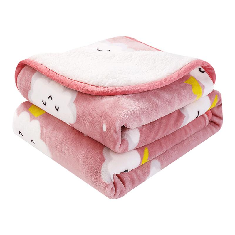 Children's Warm Cloud Pattern Printing Flannel Thick Winter Warm Very Soft And Comfortable Double Layer Blanket