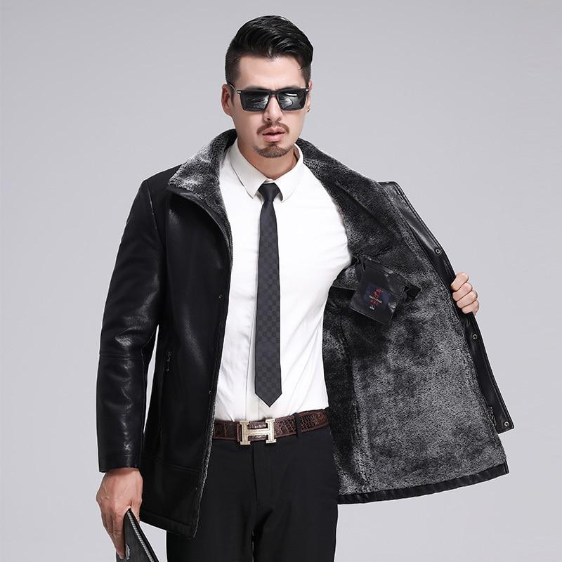 Men's Winter Jacket Casual Coat Fur Thick Velvet Warm Leather Parkas Masculino jaket men indian motorcycle fourrure homme