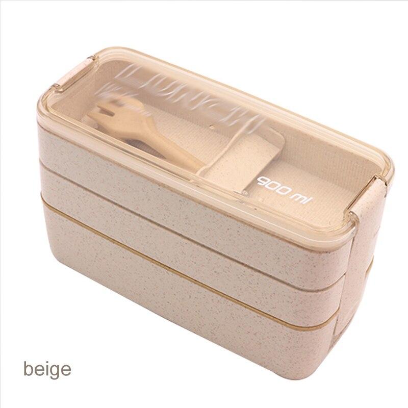 Lebensmittel Lagerung Container 900 ml Gesunde Material Weizen Stroh Lunch Box Mikrowelle Geschirr Bento Boxen 3 Schicht