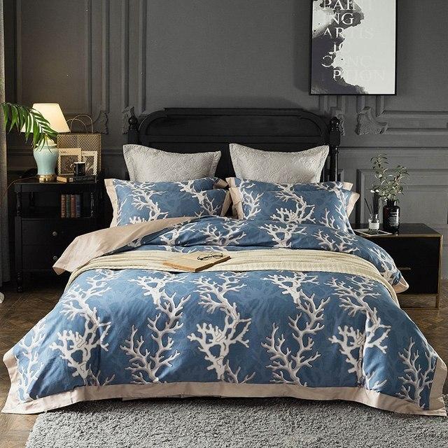 100 Egyptian Cotton Bedlinen Bedding Sets Royal Blue European Bed Linen High Quality Duvet Cover Queen King Size