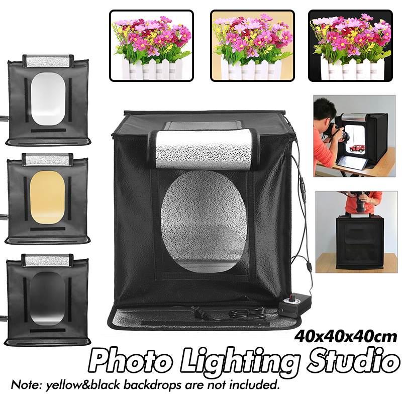 AC100-240v Portable boîte pliante photographie petit Studio boîte boîte à lumière LED pour DSLR appareil Photo arrière-plan 40x40x40 cm ensemble