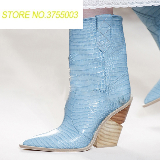 New Western Patched Strange Style Heels Women Mid Calf Boots Python Leather Ladies Short Boots Wood Highed Heels Female BootsNew Western Patched Strange Style Heels Women Mid Calf Boots Python Leather Ladies Short Boots Wood Highed Heels Female Boots