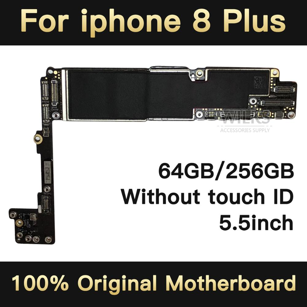for <font><b>iphone</b></font> <font><b>8</b></font> plus <font><b>motherboard</b></font> 5.5inch without <font><b>Touch</b></font> <font><b>ID</b></font> Fingerprint unlock circuit boards replacement Original unlocked 64gb 256g image