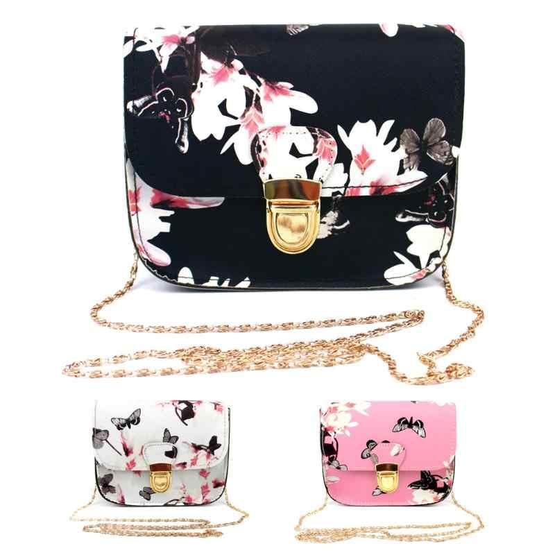 2018 couro do plutônio pequena bolsa de ombro de luxo bolsas femininas design da marca flor borboleta impresso retro aleta crossbody saco