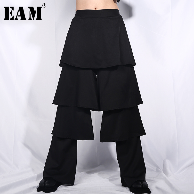 [EAM] 2019 New Spring Summer High Elastic Waist Black Loose Layers Ruffles Stitch   Wide     Leg     Pants   Women Trousers Fashion JO63