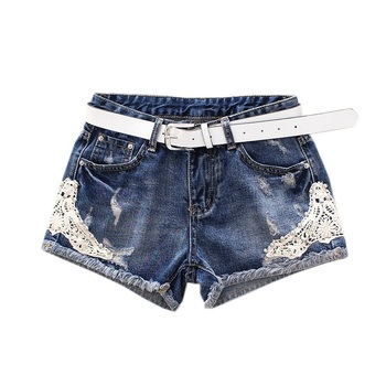 Summer Women High Waist Denim Shorts Stretch Casual Lace Patchwork Jeans Shorts High Quality Short Feminino white floral lace patchwork denim jeans