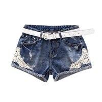 Summer Women High Waist Denim Shorts Stretch Casual Lace Patchwork Jeans Shorts High Quality Short Feminino