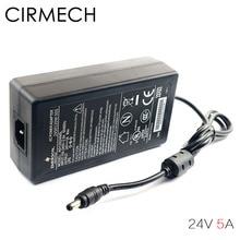 CIRMECH Conversor adaptador de corriente AC 100V 240V, CC 24V 5A, fuente de adaptador de corriente para amplificadores, otros equipos