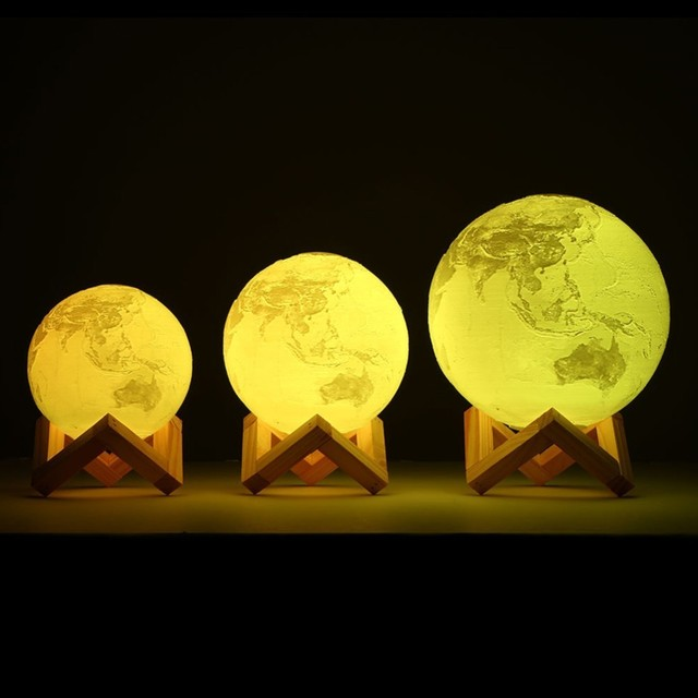 Dropship 3D Light Print Earth Lamp Jupiter Lamp Colorful Moon Lamp Rechargeable Change Touch Usb Led Night Light Creative gift