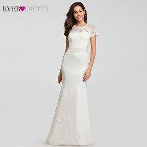Image 4 - Кружевные свадебные платья с длинным рукавом и круглым вырезом, с аппликацией в виде русалки, сексуальные торжественные Свадебные платья EZ07802WH Robes De Mariee