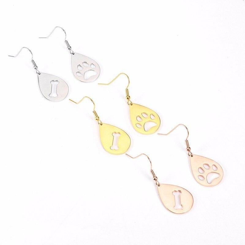 Dangle Stainless Steel Water Droplets Contour Dog Bone Paw Print Irregular Shape Drop Earrings Animal Ladies Jewelry Earrings in Drop Earrings from Jewelry Accessories