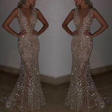 Womens Sequins Long Dress Sexy V-neck Formal Wedding Ball Prom Gown High Waist Slim Autumn Evening Party Elegant Vestidos