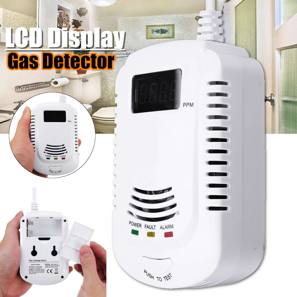 LCD Display Smart Voice Gas Detector Analyzer Carbon Detector Propane Butane Methane Safe Alarm Sensor Device White