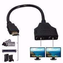 كابل تقسيم HDMI 30 سنتيمتر 1 ذكر إلى HDMI مزدوج 2 أنثى Y محول الفاصل في HDMI HD LED LCD TV 1 في 2 محول الفاصل