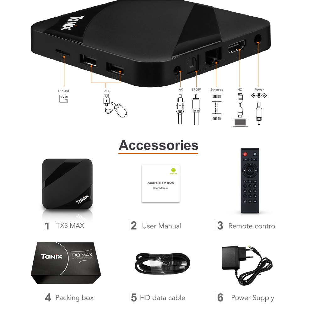 Tanix TX3 MAX 2 GB 16 GB Android 7,1 TV BOX Amlogic S905W Quad Core BT4.1 H.265 4 K 30tps 2,4 GHz WiFi PlayStore pk Mi cajas - 6