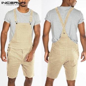 dbd796d9927c INCERUN Лето Для мужчин брюки хлопковый комбинезон карманы Твердые костюм  на лямках ...