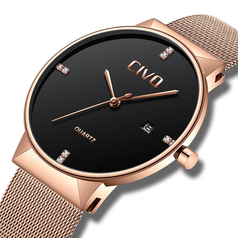 CIVO relojes de oro rosa para hombre, reloj de pulsera de cuarzo, resistente al agua, reloj de pulsera de malla de acero inoxidable para hombre