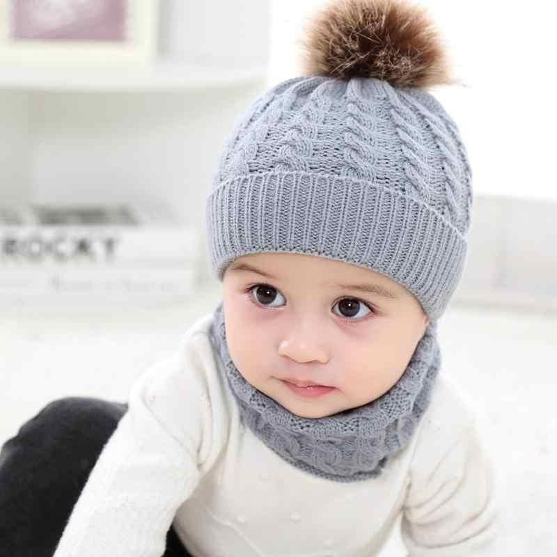 ... 2pcs Baby Hats Scarf Set Winter Knitted Warm Fur Ball Girl Boy Cap  Scarves Hat+ e5eddba7e584