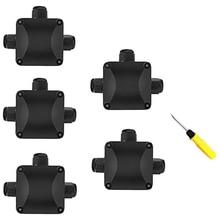 תיבה לצומת, 5Pcs עמיד למים IP68 כבל מחבר, גדול יותר 3 חיצוני דרך צומת קוטר 5.5mm 10.2mm (1 pcs