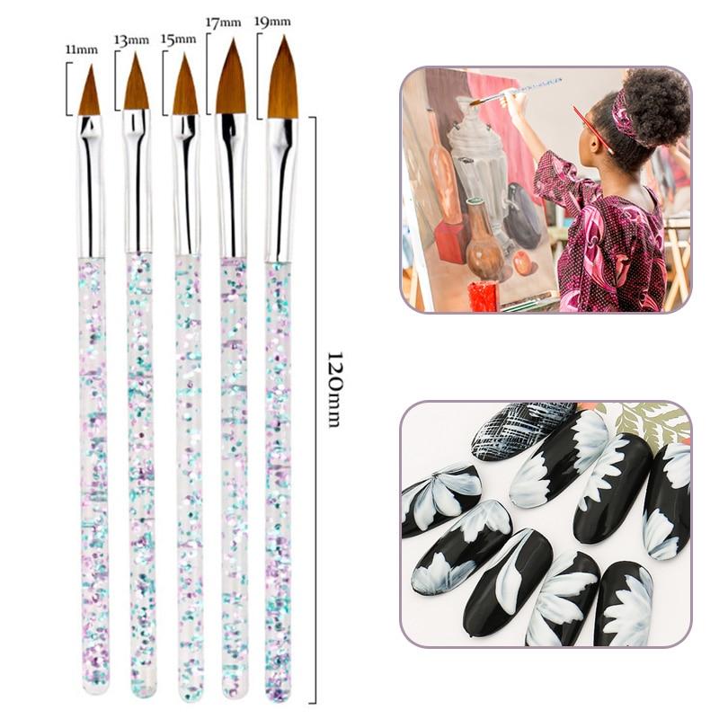 5pcs/set Different Size Paint Brushes Sequin Handle Artist Watercolor Gouache Drawing Nail Brush Pen School Office Art Supplies