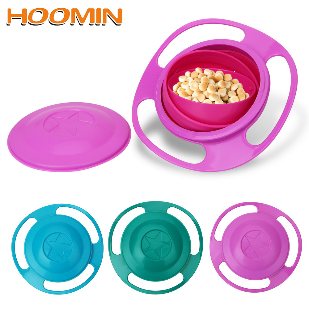 HOOMIN Food-grade PP Novelty Tableware Rotary Balance Bowl Baby Feeding Dish Gyro Bowl Baby Food Dish 360 Rotate Spill-Proof