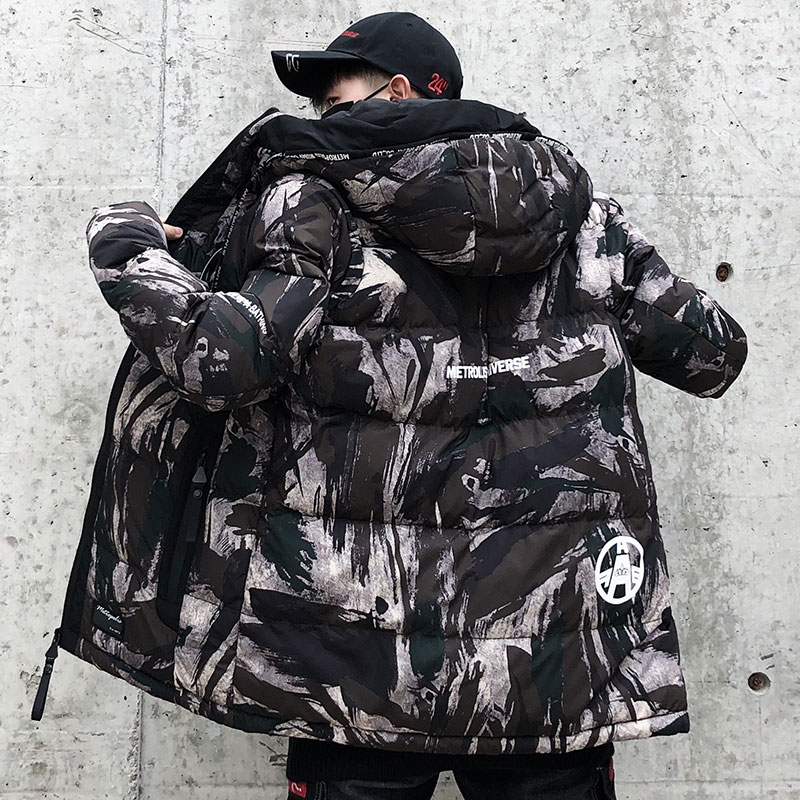Streetwear Camouflage Winter Jacket Men Hooded Casual Mens Parka Coat Camo Thick Warm Mens Outwear