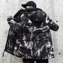 Streetwear kamuflaż kurtka zimowa mężczyźni z kapturem dorywczo mężczyzna płaszcz z kapturem Camo grube ciepłe męskie znosić