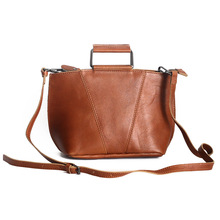 Natural Genuine Calf Leather Bag Women Fashion Fully Handmade Medium Satchel Shoulder Cross-body  Bags Vintage Small Totes