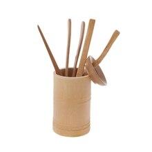 6 шт. чайная церемония набор посуды бамбуковые чайные ложки игольчатый зажим ситечко Tong трубка