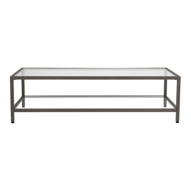 Offex Camber Collection Rectangle Clear Gl Coffee Table Pewter