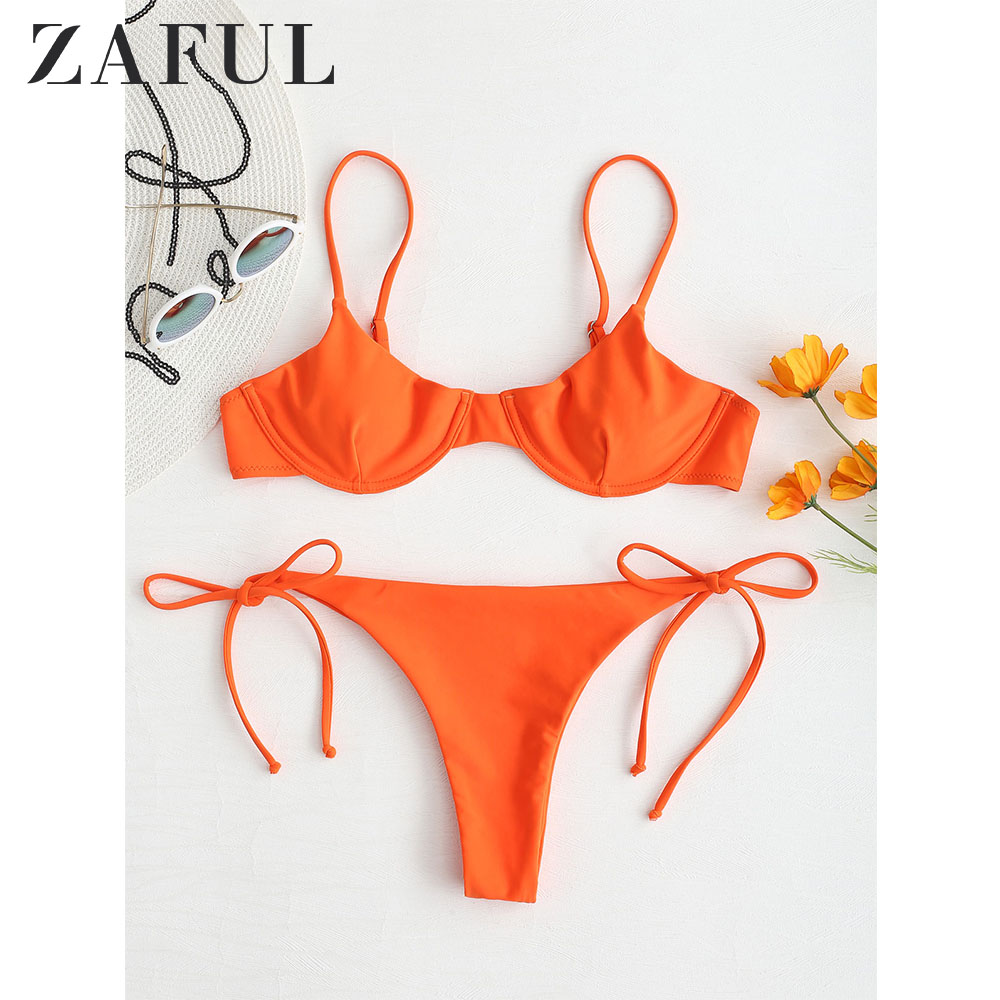 ZAFUL Tie Side Underwire Bikini Set Low Waisted Spaghetti Straps Swim Suit Underwire Balconette Solid Swimwear Bathing Suit