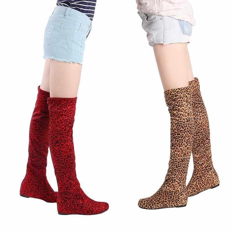HENGSONG ผู้หญิงรองเท้าฤดูใบไม้ร่วงฤดูหนาวเสือดาวความสูงเพิ่มขึ้นรองเท้าสบายๆแบนพับกว่าเข่าต้นขายาวรองเท้า TR642916