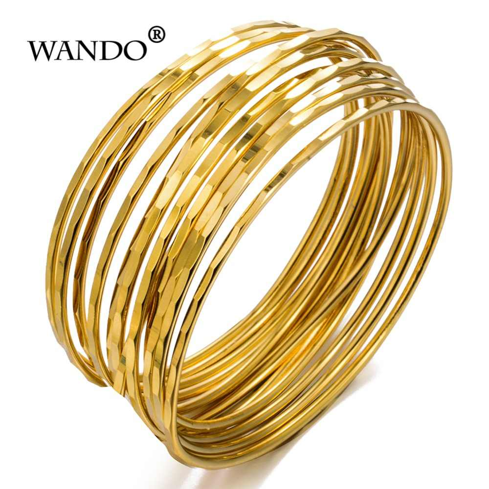 WANDO 12pcs/lot fine Punk Style Dubai Gold Jewelry Gold Color Bangles For Ethiopian Bangles & Bracelets Ethiopian Jewelry wb124