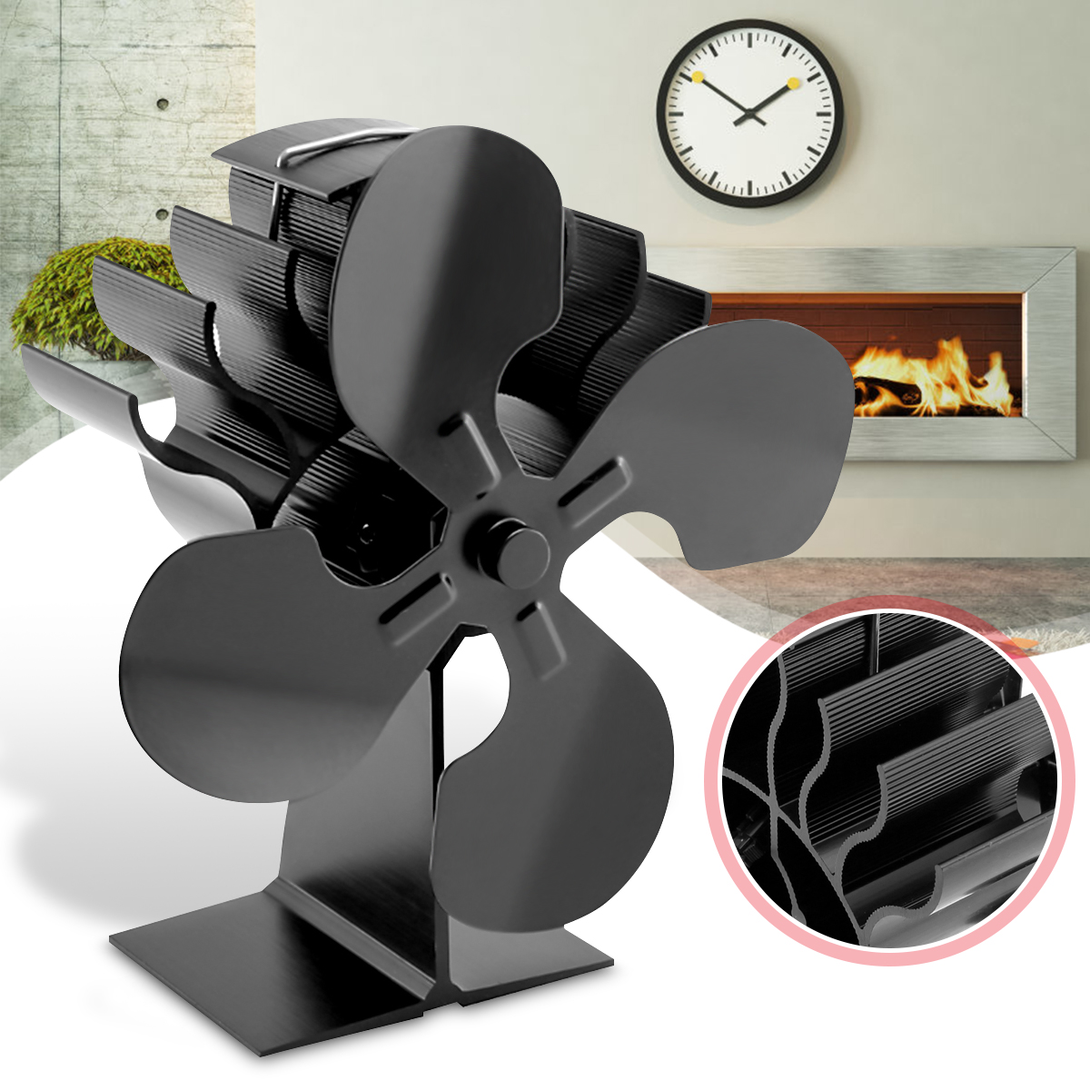 4 Blades Heat Powered Stove Fan Increase More Warm Air Than 2 Blade Stove Fan for Wood / Log Burner/Fireplace for Eco for MG цена и фото