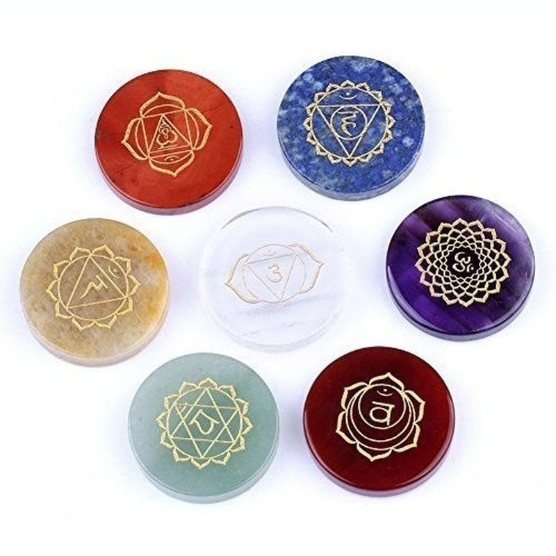 7pcs Natural Crystal Healing Stone Decompression Seven Chakra Energy Stone Colorful Stone Agate Stone Aura Diviner Ornaments