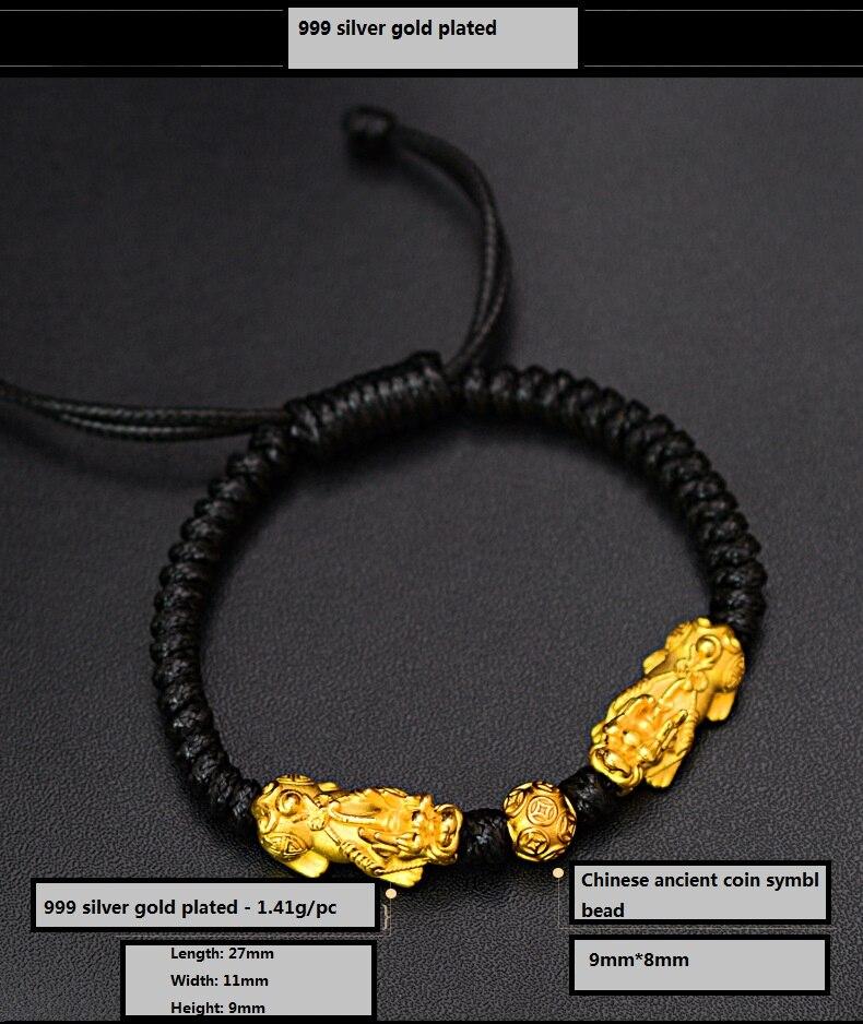 Image 5 - Handmade Good Luck Man Bracelet Fengshui Pixiu Bracelet 3D 999 Silver Wealth Pixiu Beaded Bracelet Man Gift-in Strand Bracelets from Jewelry & Accessories