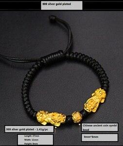 Image 5 - Hecho a mano buena suerte pulsera de hombre Fengshui pulsera Pixiu 3D de plata 999 riqueza Pixiu con cuentas pulsera regalo hombre
