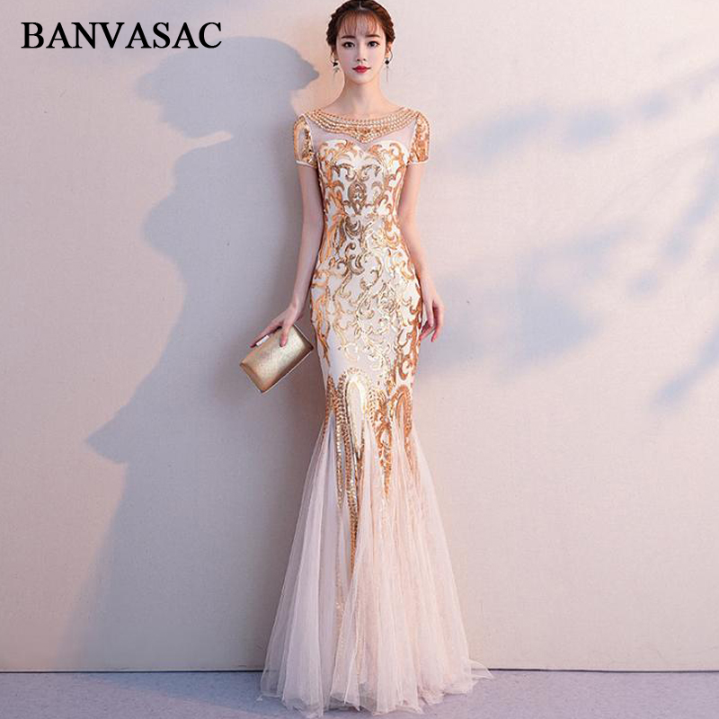 BANVASAC Illusion Crystal O Neck 2018 Mermaid Sequined Long Evening Dresses Party Short Cap Sleeve Backless Prom Gowns in Evening Dresses from Weddings Events