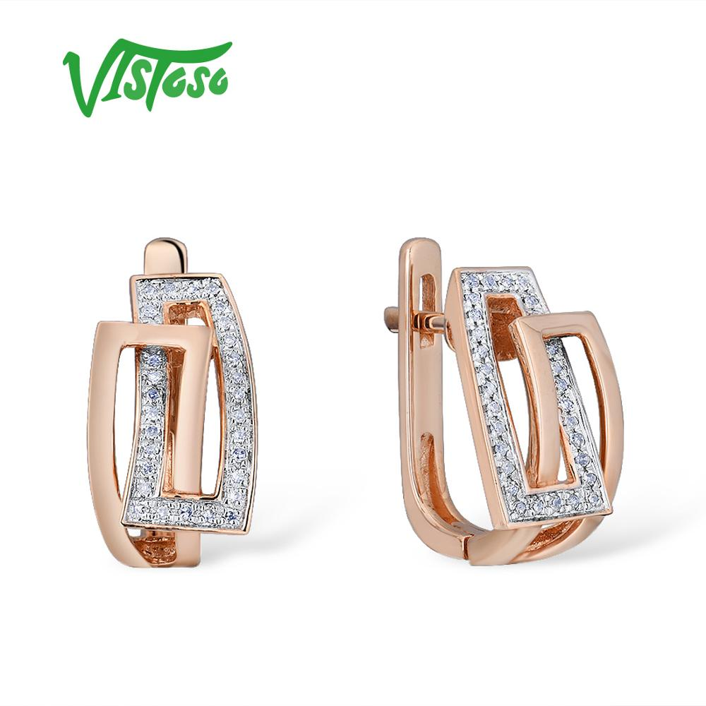 VISTOSO Gold Earrings For Women Genuine 14K 585 Rose Gold Sparkling Diamond Exquisite Anniversary Wedding Band