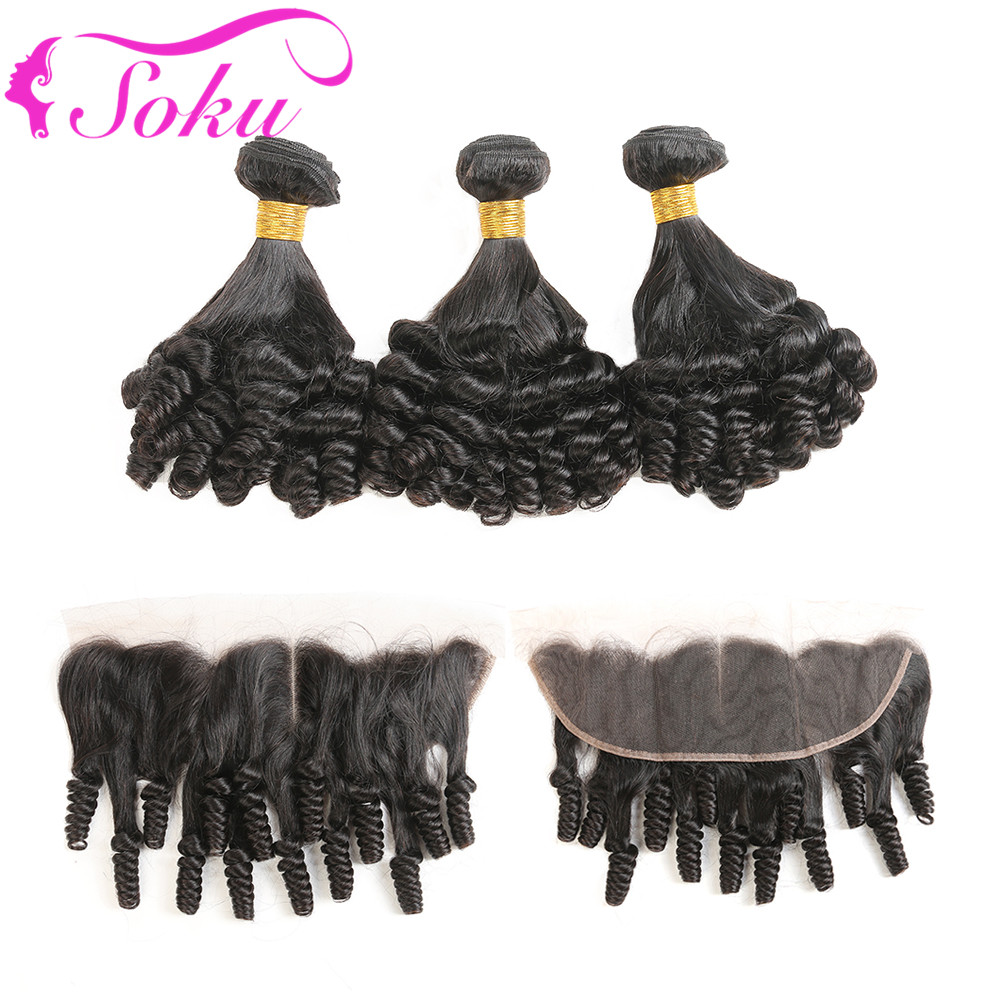 Funmi Curly 3 Bundles With Frontal Ear To Ear 13 4 Natural Color 100 Brazilian Human