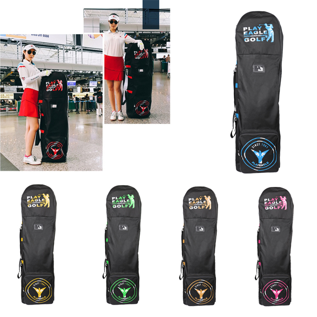 Golf Aviation Bag with Wheels Foldable Double Zipper Lightweight Trolley Cover with Password Lock Golf Travel