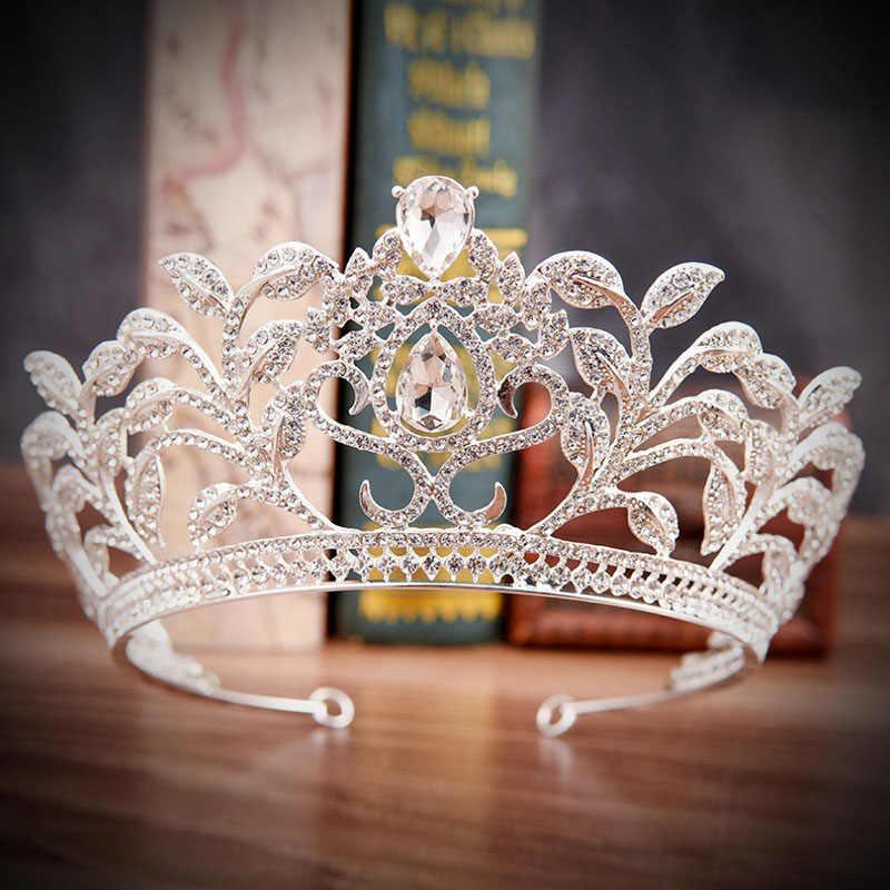 ウェディングヘアアクセサリーティアラと王冠髪の宝石バロックゴールドプリンセスクラウンレッドグリーンクリスタルラインストーンティアラ飾り