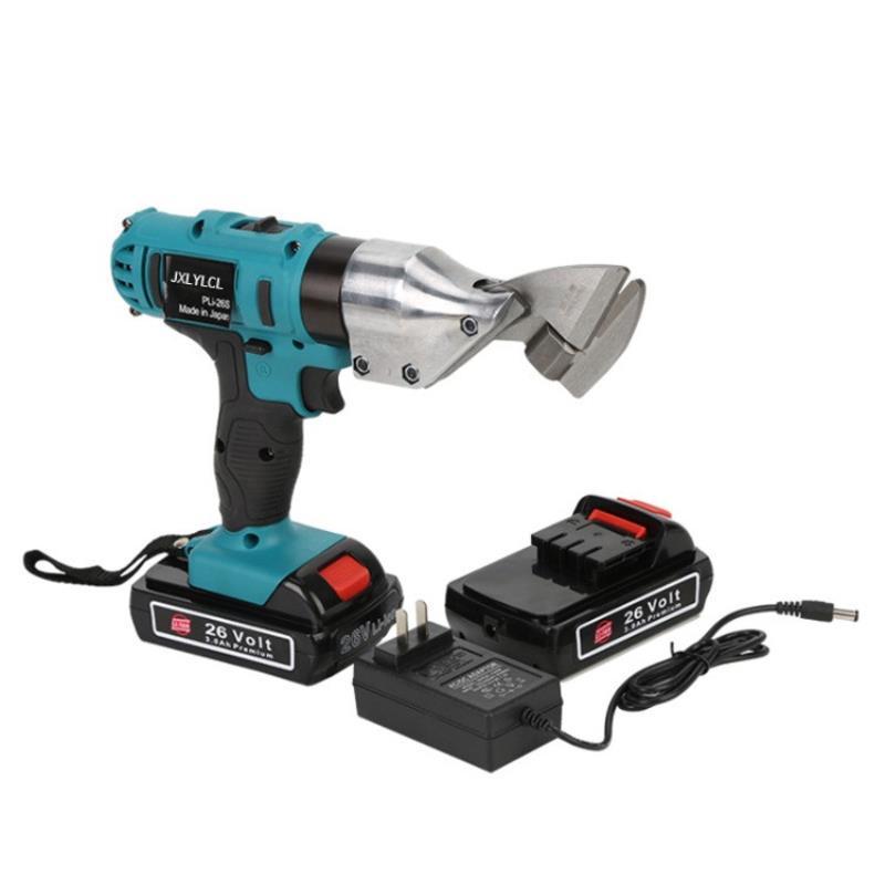 1set 26V Li ion Cordless Electric Scissor Metal Sheet Shear Cutter Scissors Rechargeable 2 Battery Rotating Head Power Tool